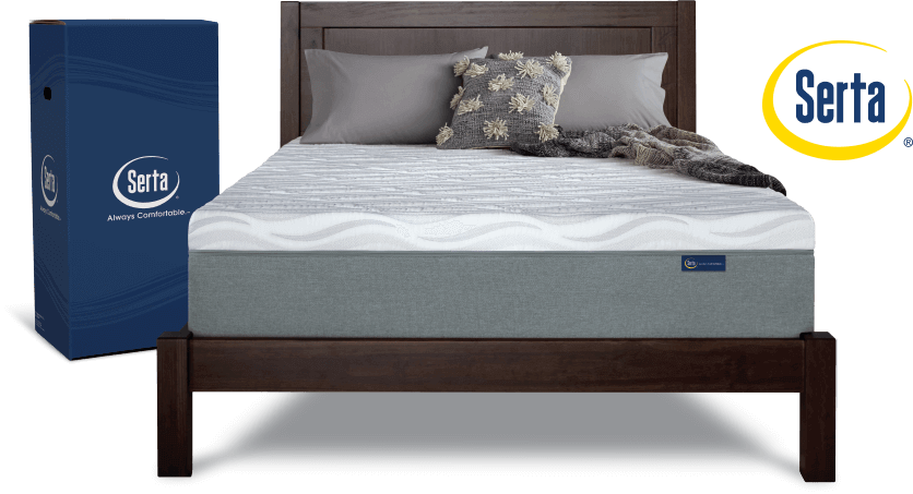 Serta Premium mattress in a box on bed frame