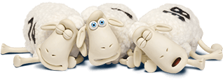 three serta sheep sleeping